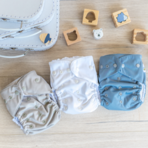 3 pocket nappies grey, white, blue with snaps on the front