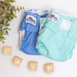 two all in one nappies blue and aqua