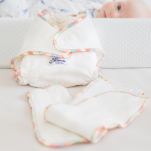 white bamboo nappy with rainbow stiching