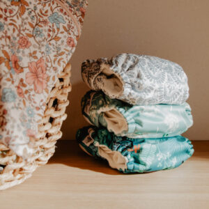 cloth nappy stack in laundry